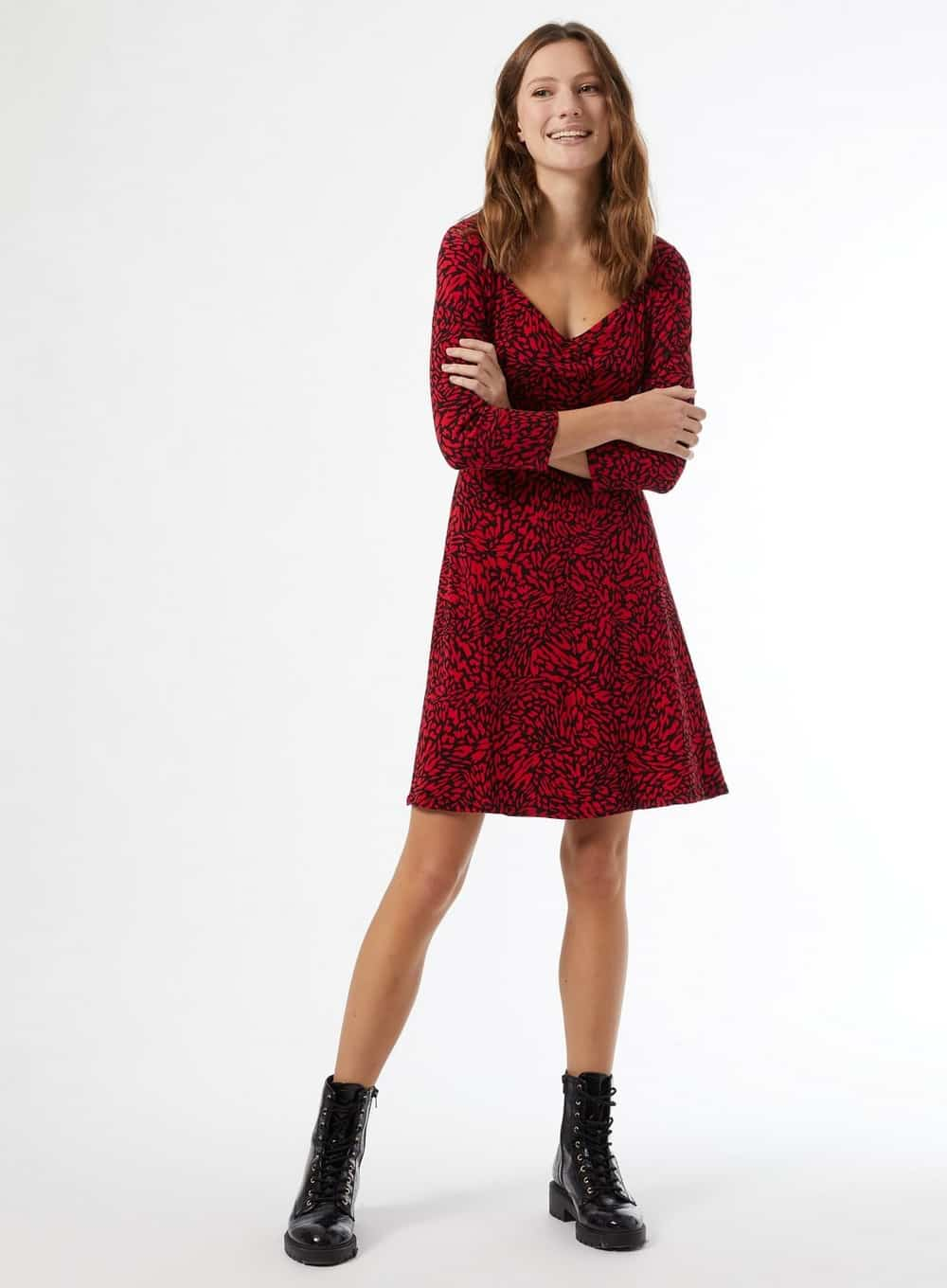 Red Abstract Print Jersey Skater Dress With Organic Cotton