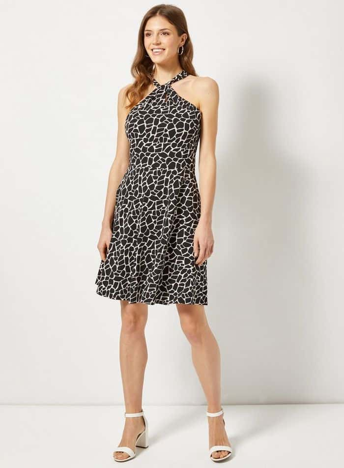 Black Giraffe Print Twist Neck Fit And Flare Cotton Blend Dress