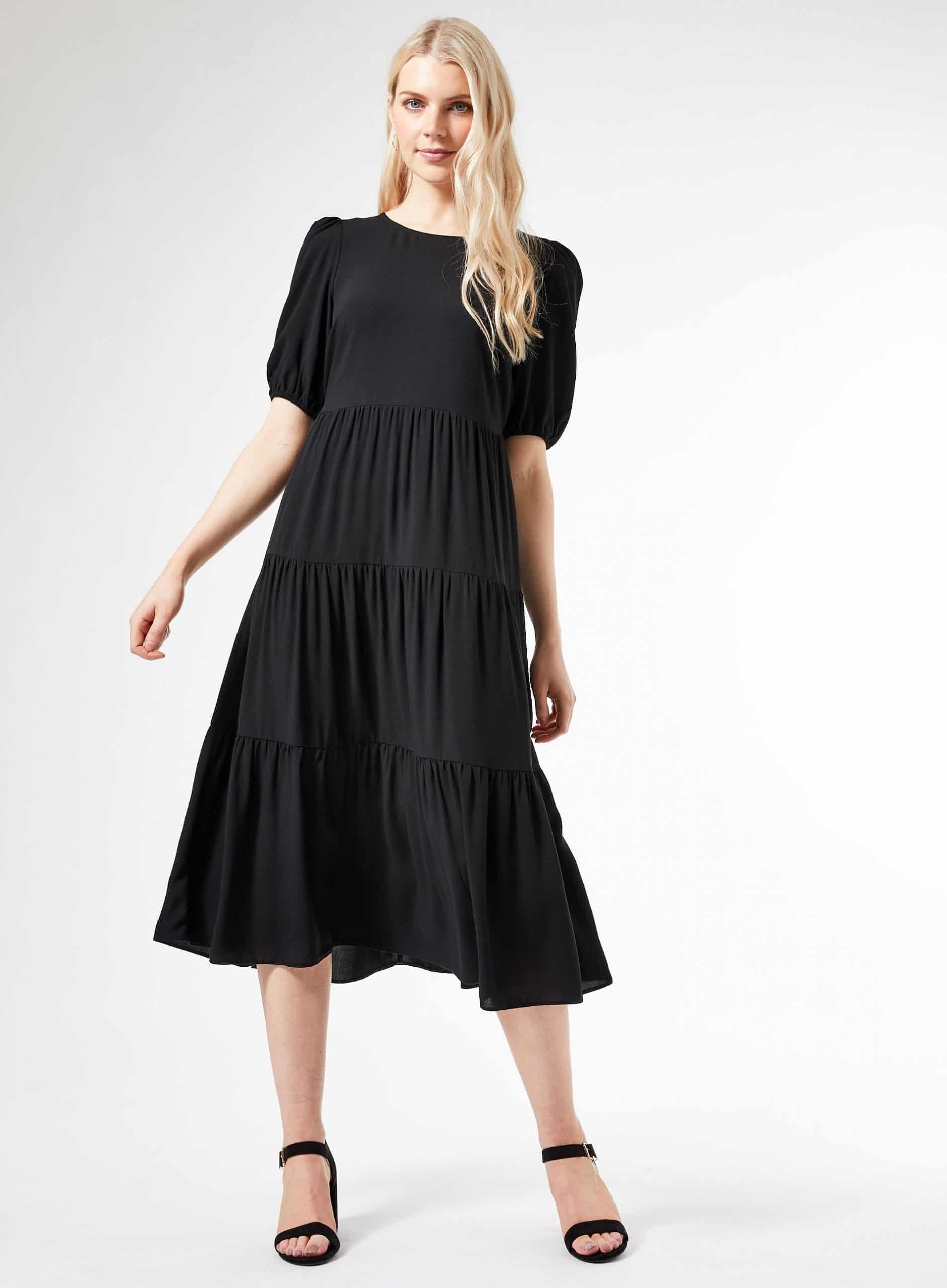 Black Sustainable Viscose Puff Sleeve Smock Dress