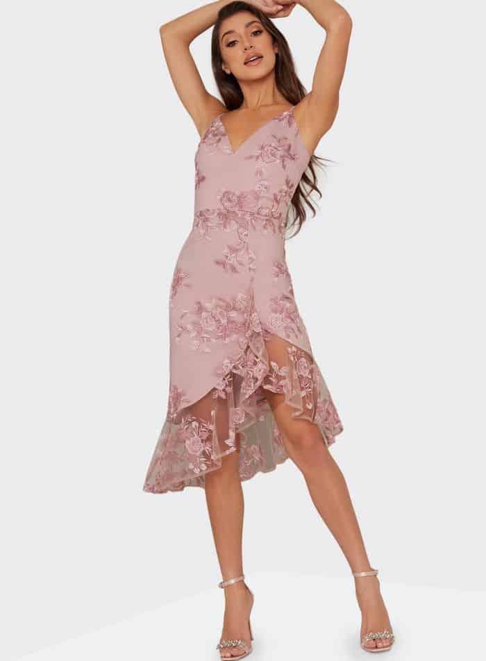 Chi Chi London Multi Colour Floral Embroidered Lilliana Dress