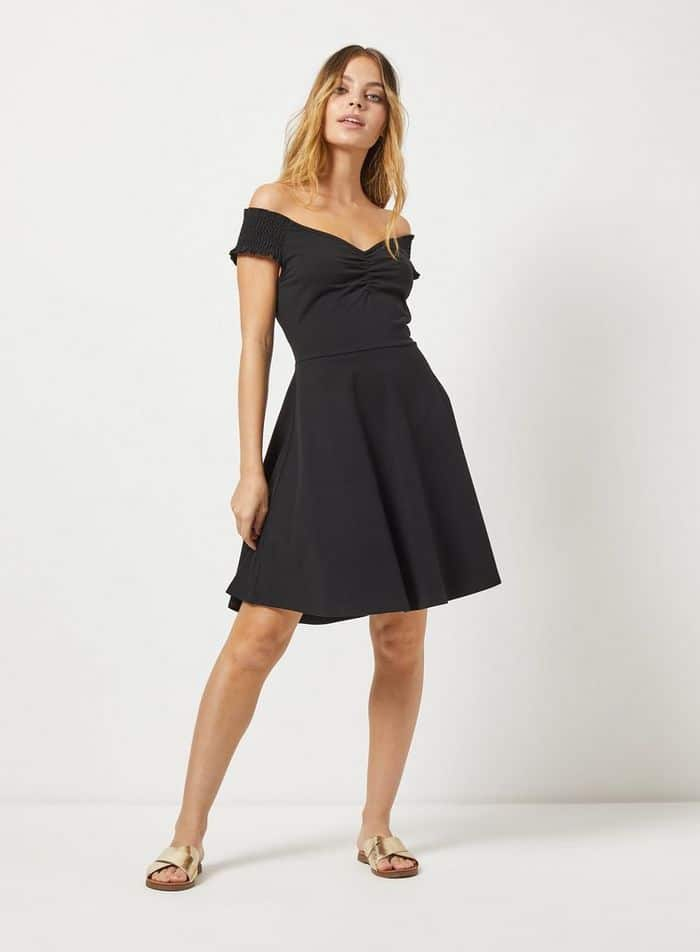 DP Petite Black Sweetheart Fit And Flare Dress