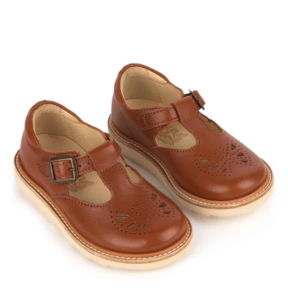 Young Soles Chestnut Leather Rosie T-Bar Shoe